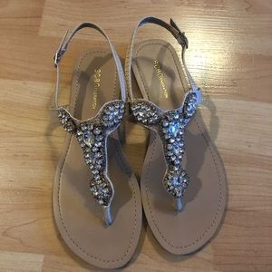 BCBG jeweled sandals